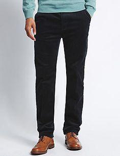 Cotton Rich Corduroy Trousers with Stormwear™ #trousers #leggings #skinny #men #man #fashion #style #marksandspencer #erkek #pantolon #mscollection #autograph #blueharbor #limitededition #slimfit #straightfit