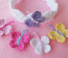 Crochet pattern - Crochet headband Pattern - instructions only. Crochet butterfly headband pattern. This headband is just so pretty with a double scalloped edge and a cute butterfly. Crocheted in 100% cotton makes it very soft and comfortable to wear. It comes in 8 sizes from newborn to adult. *PATTERN ONLY* Level - Easy HEADBAND PATTERN, pdf instant download. For more unique designs take a look in my shop! :-) https://www.etsy.com/uk/shop/KerryJayneDesigns?ref&#x...