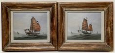 PAIR OF CHINESE EXPORT GOUACHE ON PAPER PORTRAITS OF TWO JUNKS, 19th Century, in gilt frames. 7.75 in. x 9.75 in.