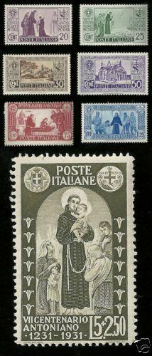 1931 REGNO D' ITALIA LA SERIE SANT' ANTONIO 7 VALORI NUOVO MNH**