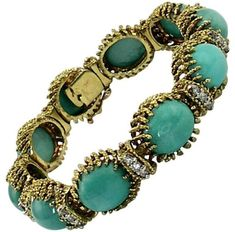 18K Yellow Gold With Turquoise & Diamond Twisted Gold Bracelet. Turquoise jewelry. I'm an affiliate marketer. When you click on a link or buy from the retailer, I earn a commission.