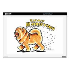 """#Animals                                        Chow Chow Totally Hairifying Laptop Decals                   Original design by Off-Leash Art with hand drawn illustration of a Chow Chow. Funny gift for Chow owners battling with dog hair. Also makes a great Halloween alternative design.   Click the orange """"customize it!"""" button to change the background color, or to add text or photos."""