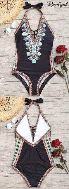Free shipping worldwide.Printed Low Back Halter Swimsuit. summer ideas, hawaii, beach style,swimwears, swimsuits,halter swimsuit,womens fashion. #summer #bikini #swimsuits