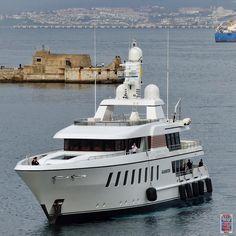 """The 44m """"GLADIATOR"""" coming into port this morning. Built in 2010 by @feadship by superyachts_gibraltar"""