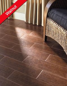 Colonial Wood by Interceramic is a High Density ceramic floor tile that gives the look of hardwood, with the durability and comfort of tile. Colonial Wood comes in 6 x 20 tiles in Mohogany, Pecan, and Walnut. Ceramic Wood Floors, Wood Grain Tile, Hardwood Tile, Wooden Flooring, Tile Flooring, Wood Tiles, Flooring Ideas, Dark Hardwood, Wood Planks