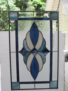Blue Colors! REAL Stained Glass & Beveled Window Panel- Made in USA! | eBay