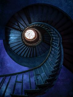 Dark Blue Spiral Staircase by Jaroslaw Blaminsky Spiral Staircase Blaminsky blue Dark Jaroslaw spiral staircase Blue Aesthetic Dark, Aesthetic Colors, Aesthetic Pictures, Ravenclaw, Blue Wallpapers, Dark Blue Wallpaper, Spiral Staircase, Staircases, Hogwarts Houses