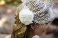 Bridal Hair , Flower in hair , Bird Cage Veil  www.cayladoeshair.com