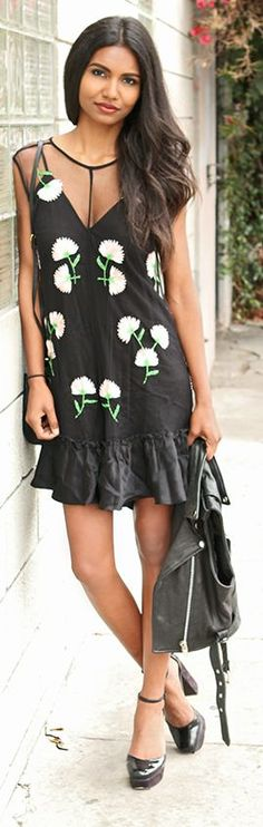 Black Floral Summer Style by Tuolomee