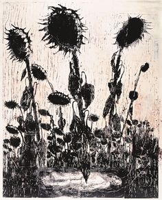 Anselm Kiefer Sunflowers (Tournesols), 1996 Woodcut, shellac, and acrylic on canvas 435 x 349 cm Guggenheim Bilbao Museoa Anselm Kiefer, Musée Guggenheim Bilbao, Botanical Illustration, Illustration Art, Etching Prints, Royal Academy Of Arts, Les Oeuvres, Flower Art, Printmaking
