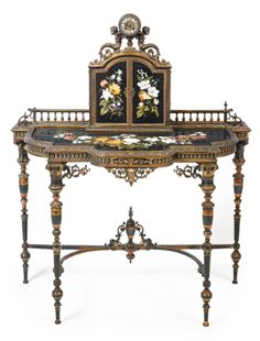 An unusual silvered, gilt and copper patinated bronze and pietra dura decorated bonheur du jour<br>England, century Door Furniture, Garden Furniture, Antique Furniture, Painted Furniture, Unusual Furniture, Decoration, Art Decor, Home Decor, Steel Patina