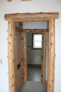 log door trim...could use for window's too and smaller logs also. #LogFurniture