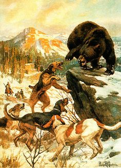 Bears, Dogs, and Hunters scene by Philip R Goodwin /eBay