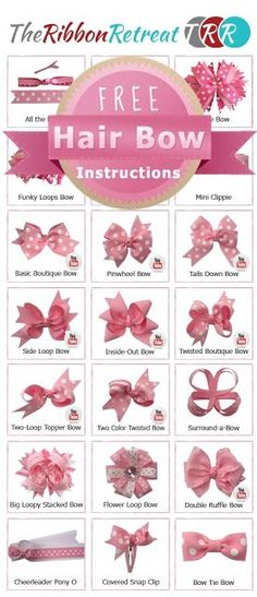 Hair bow tutorials (pin to view) @ DIY Home Ideas.i LOVE making bows!Hair bow tutorials (pin to view) @ DIY Home Ideas Walters Walters Hebert I am sure you've seen thsi but just in case you haven't*I have so much ribbon I could use to make bows for m Making Hair Bows, Diy Hair Bows, Diy Bow, Hair Ribbons, Ribbon Bow Diy, Ribbon Flower, Diy With Ribbon, Tying Bows With Ribbon, Crochet Hair Bows