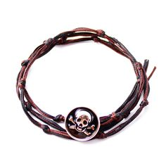 RAVE Mens Brown Black Knotted Bracelet with Silver Black Skull Button in Wax Cord and Metallized Poly Size Adjustable to Necklace and Anklet