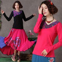 Modern Chinese Style Top - Modern Cheongsam Top - Dancing Peony (Black/ Fuschia) $39.99 (30,13 €)
