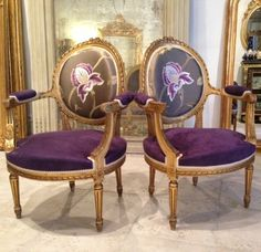 Beautiful pair of #gilded #medallion #armchairs #LouisXVI style. Carved and gilded (foliage, ribbons and beautiful sculpture of roses on the top of their records). Fluted legs. Late #19th century. For sale on Proantic by Antiquaire Chenal & Gaubert.