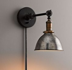 Industrial Era Task Sconce Pewter $149 for over kitchen sink or above bookshelves??
