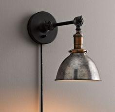 Industrial Era Task Sconce Pewter $149 for over kitchen sink or above bookshelves??
