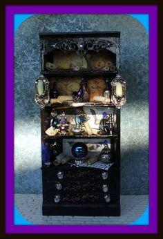 Gothic Witch Wizard Halloween dollhouse miniatures cabinet dresser  bookcase ooak bat. $48.00, via Etsy.