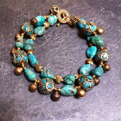 ROX Turquoise And Brass Bead Bracelet
