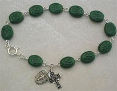 Oval Glass Shamrock Rosary Bracelet