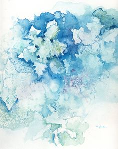 Winter Snow Painting Blue Snowflake Abstract Art by MarilynKJonas $16