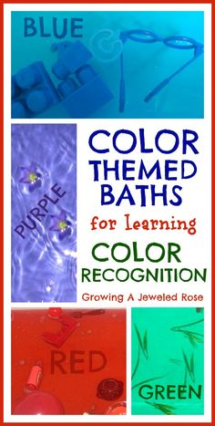 Color Themed Baths- a fun way to introduce colors to kids!