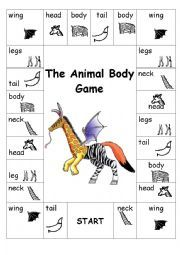 English worksheet: Animal body board game