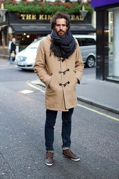 Men's Camel Duffle Coat, Navy Skinny Jeans, Dark Brown Leather Boat Shoes, Navy Plaid Scarf