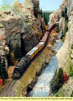 Dave Frary's 12' long version of the Gore Canyon on an HO scale Rio Grande model railroad.