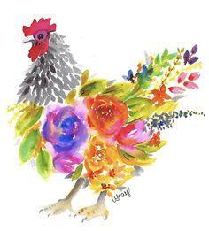 Watercolor Artwork, Watercolor Cards, Watercolor Illustration, Floral Watercolor, Watercolor Brushes, Watercolor Ideas, Watercolor Animals, Watercolour, Chicken Painting