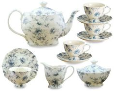 Amazon.com: Gracie China Blue Rose Chintz 11-Piece Tea Service, 4-Cup Teapot Sugar Creamer and Four 7-Ounce Cups and Saucers: Kitchen & Dining