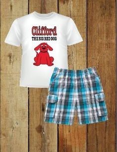 Clifford the big red dogToddler boys t shirt plaid short set new 2t  3t #bluebird #Casual