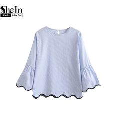 SheIn Women Blouses Blue Contrast Binding Bell Cuff Wave Trim Blouse Spring 2017 Womens Tops Long Sleeve Top for Women