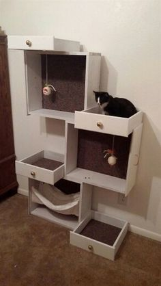 Build your pampered feline a cat tree with old drawers! Build your pampered feline a cat tree with old drawers! Susannetreib susannetreib Katzenspielzeug repurposed furniture etc into easy diy cat […] furniture Pet Furniture, Repurposed Furniture, Furniture Stores, Furniture Market, Furniture Ideas, Rustic Furniture, Luxury Furniture, Furniture Cleaning, Bedroom Furniture