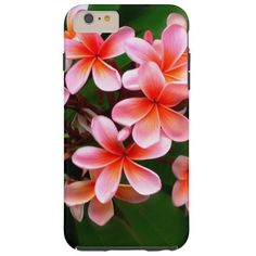 Tropical Pink Green Plumeria Flower Floral Photo Tough iPhone 6 Plus Case