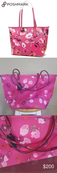 Spotted while shopping on Poshmark: Coach Pink Wildflower Tote Bag! #poshmark #fashion #shopping #style #Coach #Handbags