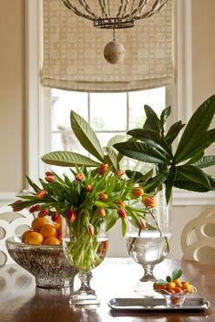 A beautiful and creative Phoebe Howard vignette with floral arrangement and greenery. Magnolia Branch, Magnolia Leaves, Vibeke Design, South Shore Decorating, Deco Table, Garden Projects, Vignettes, Tablescapes, Floral Arrangements