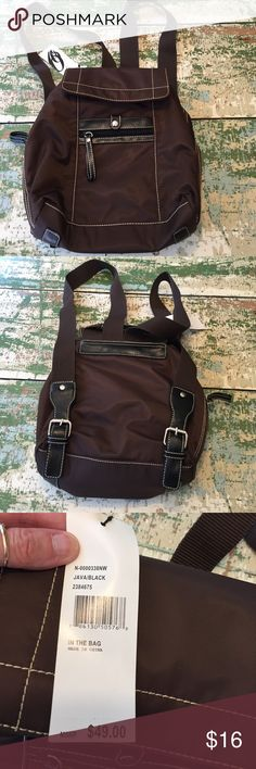 NWT Nine West back pack Brown nylon back pack. Three inside compartments-- lots of room and very light! Nine West Bags Backpacks
