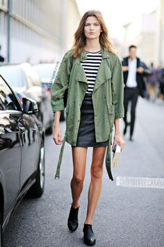 Model-Off-Duty Style: Bette Franke In An Army Jacket And Striped Tee