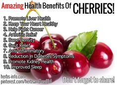 Cherries are packed with nutrients! They are becoming more well known for their many health benefits, mainly due to the high levels of some vitamins and strong antioxidants that help the body to remain in balanced health, supporting its defense against many degenerative diseases.