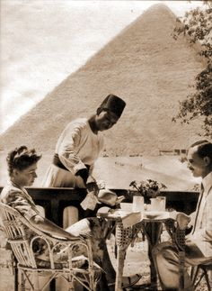 View from guest room, circa 1928  Mena house, Egypt