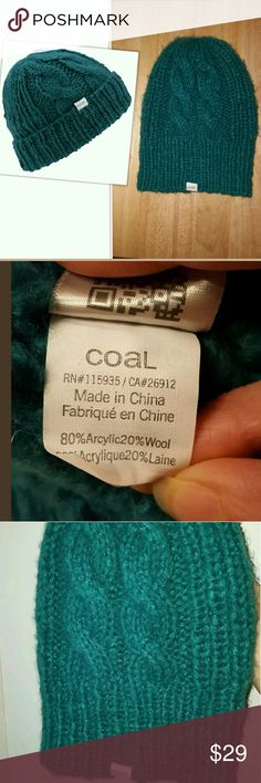 """Coal The Parks Chunky Cable Slouch Beanie Teal Coal Womens """"The Parks"""" Chunky Cable Beanie Slouchy Hat - One Size - Petrol Teal Green   Mohair-like Wool & Acrylic blend. Chunky knit.  80% Acrylic, 20% Wool   New w/o tag. Has been tried on.   Versatile: Beanie style if you fold it over, or slouchy if you don't. (See gray hat pic for styling.) The Coal Women's Parks Beanie has a cute look and cozy feel that pairs just as well with a peacoat as it does with a pair of snowboard goggles.  From a…"""