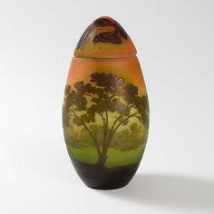 """Art Nouveau Cameo Glass  """"Landscape"""" Vase by Émile Gallé"""