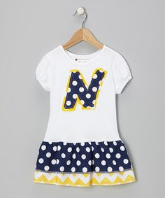 Take a look at this White & Navy Polka Dot Initial Puff-Sleeve Dress - Toddler & Girl by Nikkiloo on #zulily today!