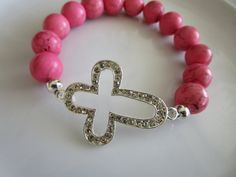 Sideways cross semi precious stone pink howlite by LeeliaDesigns