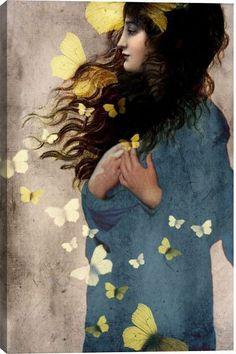 Bye Butterfly Figurative Canvas Wall Art Print by Catrin Welz-Stein