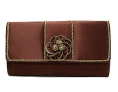 BROWN SATIN EFFECT CLUCH BAG WITH 3-D FLORAL DESIGN, £9.99