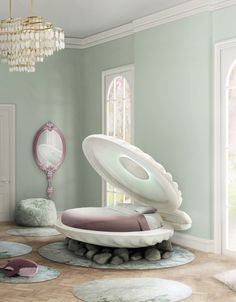 Little mermaid bed is a shell shaped bed. This princess bed will also protect your little girl, and help her to dream and become a under sea princess.